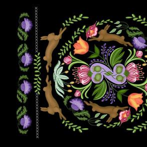 Thistle & Hare Folk Art Tea Towel in Black
