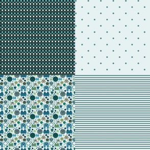 Quilting Coordinates - Monsters on the Loose - Earthy Teals
