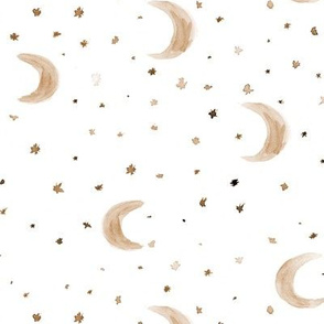 Moons and stars in earthy colors • watercolor boho night sky for modern nursery