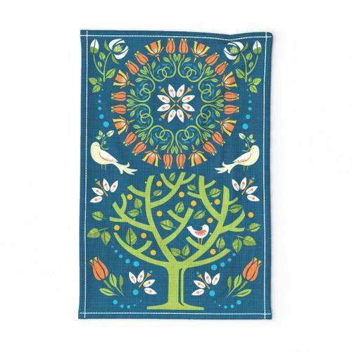 Peaceful Folk Birds Tea Towel