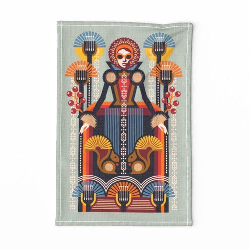 Folk Art Lady Tea Towel