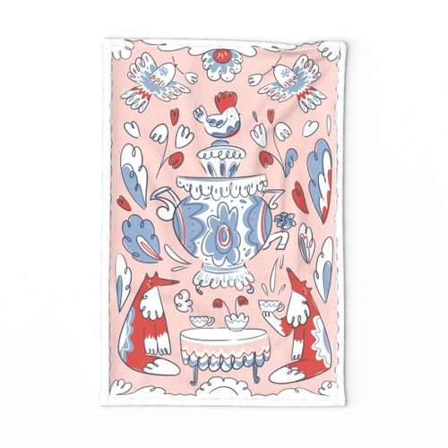 folk art tea party towel