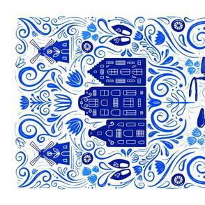 Dutch Bike Folk Art Tea Towel // Delft Blue Inspired Netherlands Design // Bike, Windmill, Canal Houses, Clogs // Amsterdam Love
