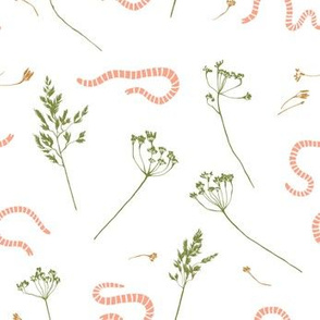 Earthworms in the grass