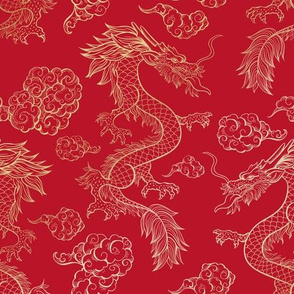 Chinese Dragon and Clouds Red