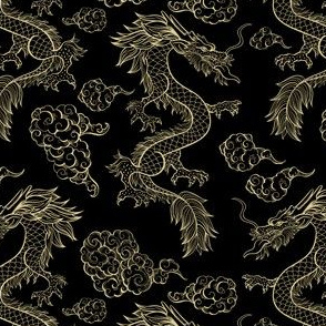 Chinese Dragon and Clouds Black