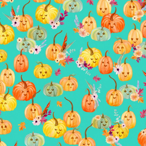 cute pumpkins aquamarine