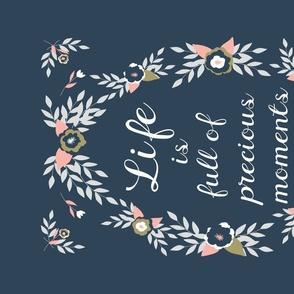 Folk Art Flowers - Life is Full of Precious Moments Navy