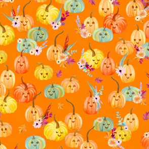cute pumpkins orange