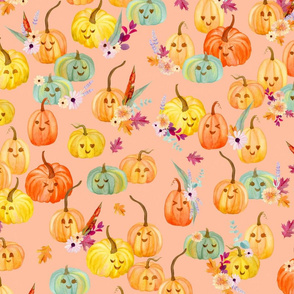 cute pumpkins peach