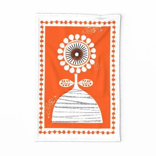 mid century folk flower-orange