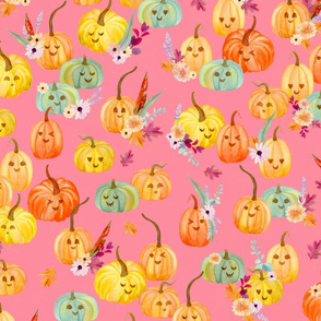 cute pumpkins pink