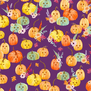 cute pumpkins purple