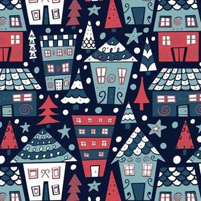 Christmas village on dark blue