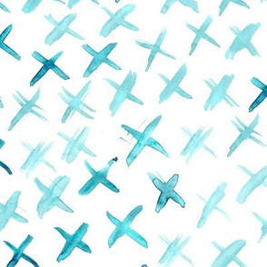 Aqua watercolor crosses • brush stroke modern painted pattern