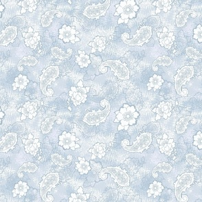 Light Blue Tossed Floral Pasiley