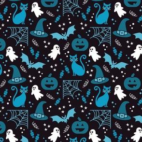 Halloween party Fabric blue, black