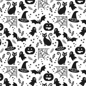 Halloween party Fabric white & black