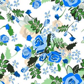 Roses Chintz blue on yellow
