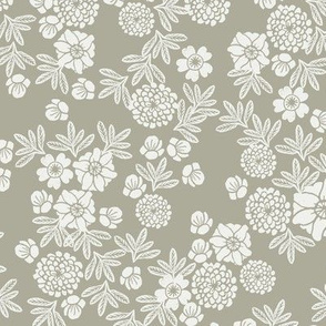 woodcut floral fabric - sage sfx0110 block print wallpaper, woodcut wallpaper, linocut florals, home decor fabric, muted earth tones fabric