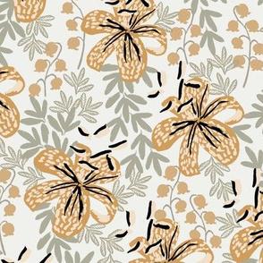 lily oak leaf wheat sage stargazer lily fabric - sfx0110, sfx1144, sfx1225 - home decor fabric, lily wallpaper, interior florals - lily fabric, lily wallpaper