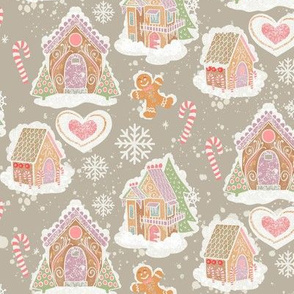 Gingerbread Houses Warm Gray Background