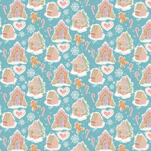 Gingerbread Houses Teal Background