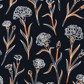 Autumn Carnations - Black&White&Gold
