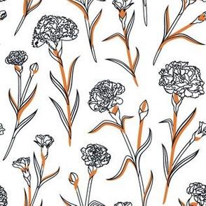 Autumn Carnations - White&Black&Gold