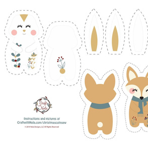 Cut and Sew Winter Flora Bunny and Fox
