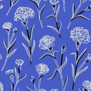 Autumn Carnations - Blue&White&Black