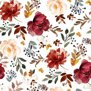 """18"""" Harvest Florals White Back"""