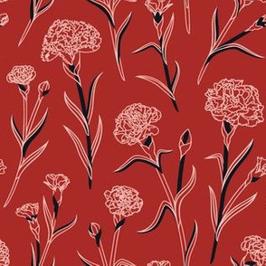 Autumn Carnations - Red&Pink&Black