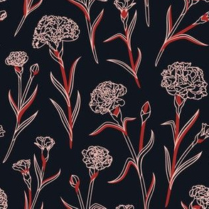 Autumn Carnations - Black&Pink&Red