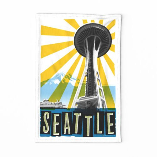 Emerald City Tea Towel* || seattle Pacific Northwest mount rainier mt. poster typography silkscreen ferry space needle retro grunge kitchen cut and sew print poster wall hanging