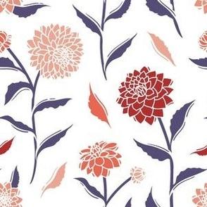 Autumn Dahlias - White&Violet&Pink