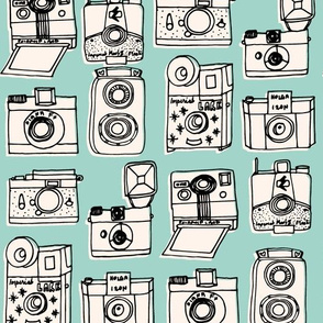 Vintage Cameras // mint hand-drawn kids nursery cute toys