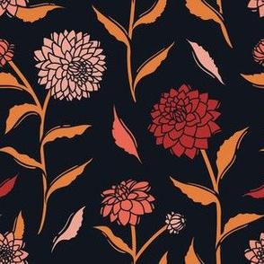 Autumn Dahlias - Black&Gold&Pink