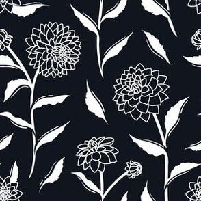 Autumn Dahlias - Black&White