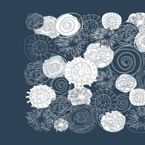 Abstract Flowers - Navy