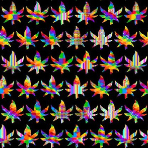 Marijuana / Cannabis Leaves - Rainbow Tie Dye on Black