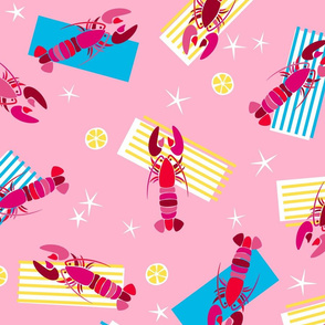 Lounging Lobsters {Pink}