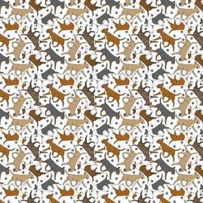 Tiny Trotting Bull Terriers colored and paw prints - white
