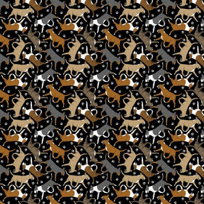 Tiny Trotting Bull Terriers colored and paw prints - black