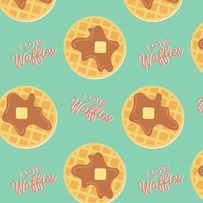 I Love Waffles | Aqua