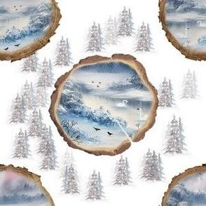 Winterland Wooden Log Slices Winter Snow Swans MED