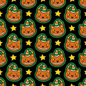 Retro Halloween Cat & Stars
