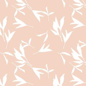 Peony Leaf Silhouettes Soft Blush