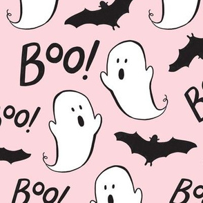 Cute Ghosts and Bats on Pink - Large