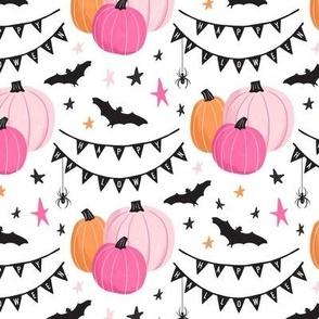 Cute Pink Halloween Pumpkins and Bats